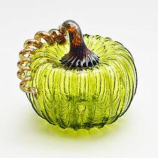 Gold Stem Pumpkin - Lime by Bryan Goldenberg (Art Glass Sculpture)