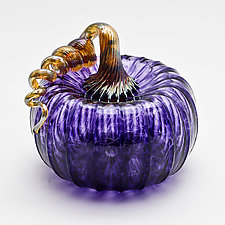 Gold Stem Pumpkin - Purple by Bryan Goldenberg (Art Glass Sculpture)