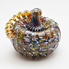 Gold Stem Pumpkin - Multicolor by Bryan Goldenberg (Art Glass Sculpture)