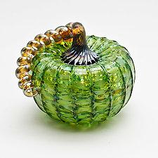 Gold Stem Pumpkin - Green by Bryan Goldenberg (Art Glass Sculpture)