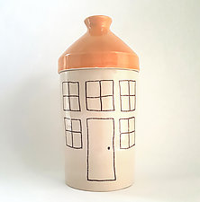 Extra Large Porcelain Canister with House Design by Heidi Fahrenbacher (Ceramic Jar)