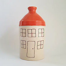 Large Porcelain Canister with House Design by Heidi Fahrenbacher (Ceramic Jar)