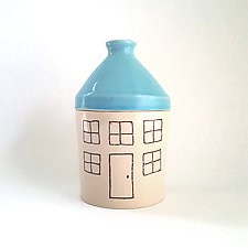 Medium Porcelain Canister with House Design by Heidi Fahrenbacher (Ceramic Jar)