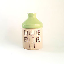 Extra Small Porcelain Canister with House Design by Heidi Fahrenbacher (Ceramic Jar)