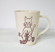 Blue Knitting Cat Mug by Heidi Fahrenbacher (Ceramic Mug)