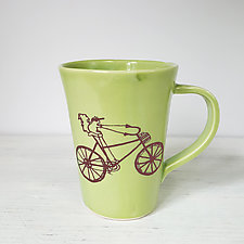 Squirrel Riding a Bike Mug by Heidi Fahrenbacher (Ceramic Mug)