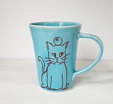 Patient Cat Mug by Heidi Fahrenbacher (Ceramic Mug)
