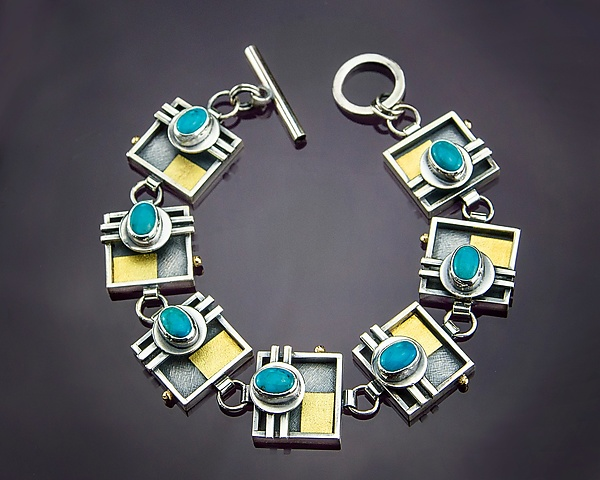 Square Link Turquoise Bracelet