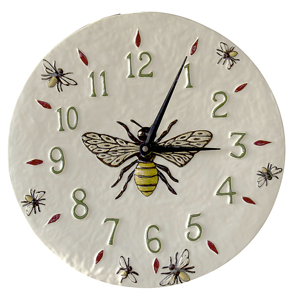 Honeybee Ceramic Wall Clock in White Glaze Background