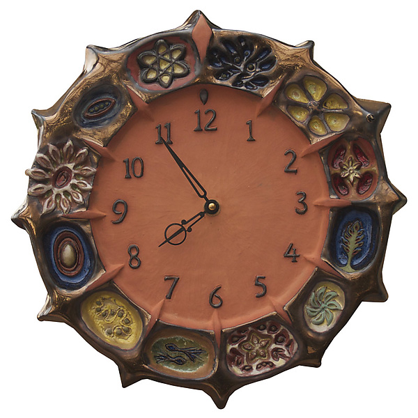 Wheel of Life Ceramic Wall Clock in Terra Cotta & Brass