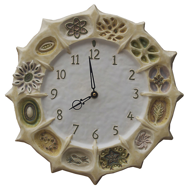Wheel of Life Ceramic Wall Clock in Cream & White