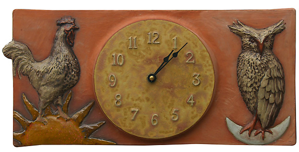 Rooster & Owl Terracotta Ceramic Wall Clock