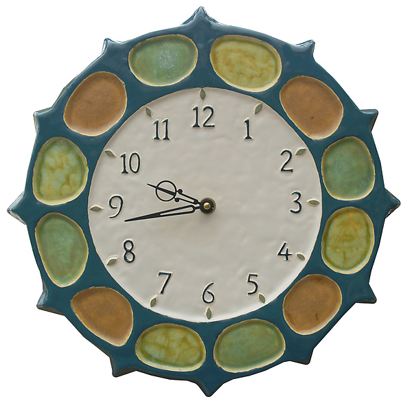 Nautical Wheel Clock in Blue Jade, Orange, Yellow & Green Glaze
