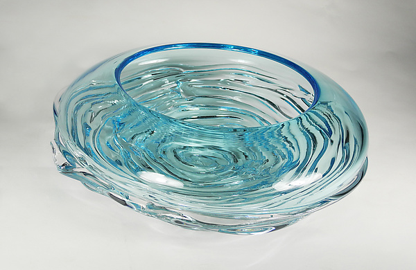 Small Aqua Ripple Wave Bowl