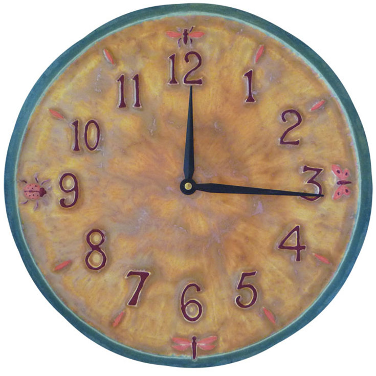 Little Wings Ceramic Wall Clock In Yellow Pink And Teal