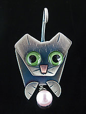 Frisky Pin & Pendant by Lisa and Scott  Cylinder (Metal Brooch)