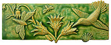 Pollinators in Green & Yellow Agate Glaze by Beth Sherman (Ceramic Wall Sculpture)