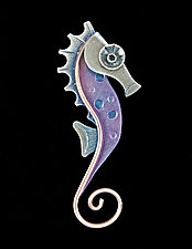 Seahorse Pin in Pink by Lisa and Scott  Cylinder (Metal Brooch)