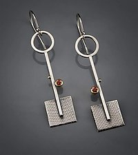 Long Garnet Square Dangles by Michele LeVett (Gold, Silver & Stone Earrings)