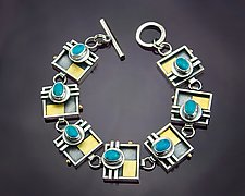 Square Link Turquoise Bracelet by Michele LeVett (Gold, Silver & Stone Bracelet)
