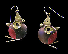 Peckish Robins Earrings by Lisa and Scott  Cylinder (Metal Earrings)