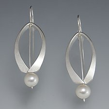 Wishbone Earrings by Susan Panciera (Silver & Pearl Earrings)