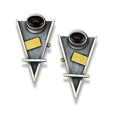 Arrow Earrings with Black Onyx by Michele LeVett (Gold, Silver & Stone Earrings)