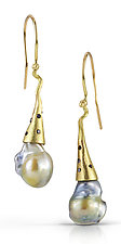 Swing Drop Pearls by Shauna Burke (Gold, Stone & Pearl Earrings)