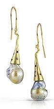 Swing Drop Pearls by Shauna Burke (Gold, Stone & Pearl Earrings)