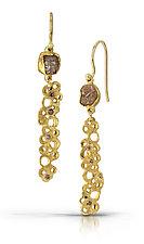 Diamond Scribble Dangles by Shauna Burke (Gold & Stone Earrings)