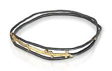 Meandering Line Bangle by Shauna Burke (Gold, Silver & Stone Bracelet)