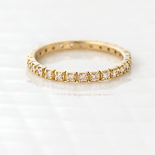 Diamond Eternity Band with Square Cut Out Details by Melanie Casey (Gold & Stone Ring)