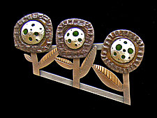 Trio Bottlecap Brooch by Lisa and Scott  Cylinder (Metal Brooch)