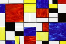 Mondrian In Glass by Gerald Davidson (Art Glass Wall Sculpture)