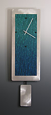 Teal Ocean Blend on Aluminum with Pendulum by Linda Lamore (Painted Metal Clock)