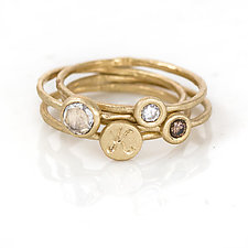 Signet and Diamond Stacking Ring Set by Melanie Casey (Gold & Stone Ring)