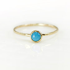 Turquoise Stacking Ring in 14k Yellow Gold by Melanie Casey (Gold & Stone Ring)