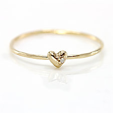 Diamond Heart Stacking Ring in 14K Yellow Gold by Melanie Casey (Gold & Stone Ring)