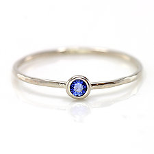 Ceylon Blue Sapphire Stacking Ring in 14K White Gold by Melanie Casey (Gold & Stone Ring)