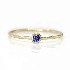 Ceylon Blue Sapphire Stacking Ring in 14K Yellow Gold by Melanie Casey (Gold & Stone Ring)