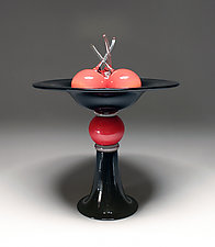Pedestal Bowl with Cherries II by Scott Summerfield (Art Glass Sculpture)