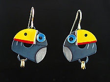 Toucan Earrings by Lisa and Scott  Cylinder (Metal Earrings)