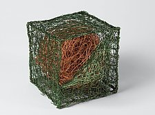 Cube with Globe by Nancy Koenigsberg (Metal Sculpture)