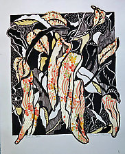 Chiles #9 by Ouida  Touchon (Woodcut Print)