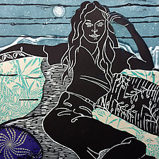 Languid by Ouida  Touchon (Linocut Print)
