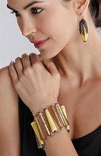 Calyx Earrings - Bone by Kate Rothra Fleming (Art Glass & Silver Earrings)