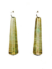 Trumpet Earrings in Iridescent Bronze Green by Kate Rothra Fleming (Art Glass Earrings)