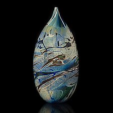 Swirled Blue Silver Vessel by Fred Kaemmer (Art Glass Vessel)