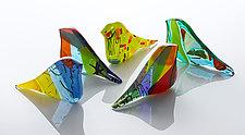 Southern Carnival Birds by Elizabeth Robinson, Spirit House Glass and SpiritHouseGlass  (Art Glass Sculpture)