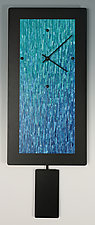 Teal Ocean Blend Pendulum Clock by Linda Lamore (Painted Metal Clock)